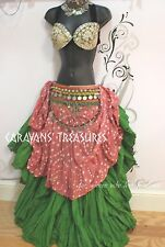 Fawn Brown Jaipur Wrap Skirt Gypsy Tribal Fusion Belly Dancel ATS