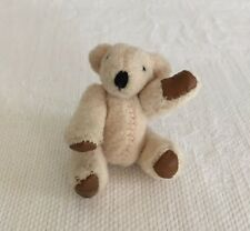 """Vintage Miniature Teddy Bear with Brown Vinyl Pads Jointed 2 1/4"""""""