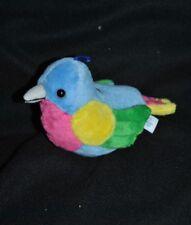Peluche Doudou Oiseau Siffleur GIPSY Piaf Bleu Jaune Vert Rose Musical TTBE