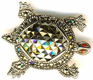 "925 Sterling Silver Marcasite Tortoise Turtle Brooch with Garnet Eyes 1.1/8"" 29m"