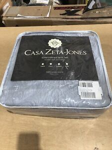 Casa Zeta-Jones Embroidered Quilt & Sham Set Queen 100% Cotton Grey, New (LW)