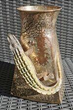 More details for stunning rare vintage 1960s wolmar castillo silversmiths crocodile fish vase