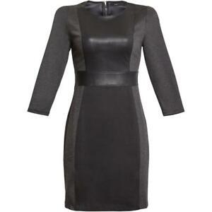 BCBGMAXAZRIA Womens Faux Leather Trim Mixed Media Party Mini Dress BHFO 4664