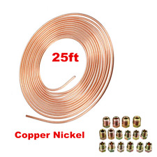 "3/16"" (OD) Copper Nickel Car Brake Line Coil 25 Ft Roll With 16 Nut Fittings Kit"