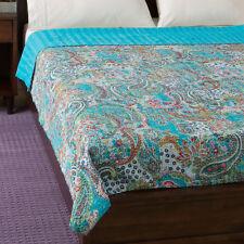 Indian Handmade Kantha Quilt Vintage Bedspread Throw Cotton Blanket 2T Coverlets
