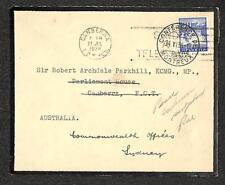 SWITZERLAND TO CANBERRA AUSTRALIA KING GEORGE V MOURNING COVER 1936