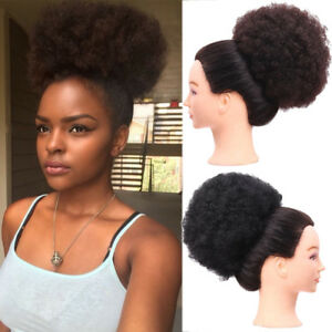 """6"""" 8"""" Afro Ponytails Puff Drawstring Bun Updo Wrap Curly Hair Chignons Synthetic"""
