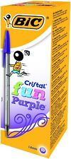 BIC Cristal Fun Ballpoint Pens with Large 1.6 mm Tip - Purple, Pack of 20