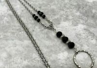 Black & Silver Chain Lanyard with Abacus Beads, Badge ID Holder Breakaway Opt.