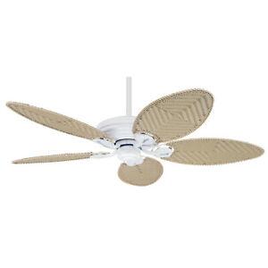 "HUNTER 52"" Outdoor Ceiling Fan Seascape White & Solid Teak Blades 28543"
