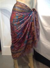 Cotton Sarong Embroidered Boho Chic Beach Coverup Light Summer Wrap Scarf