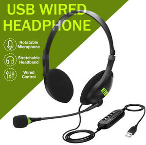 Mic USB Wired Headphones Office Headset Earphone For PC Laptop Phone Call