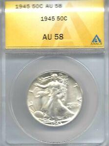 1945 Philadelphia Uncirculated Silver Walking Liberty ANACS AU 58 Half Dollar!