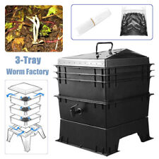 3-Tray  Compost Bin Worm Factory Composter Organic Kitchen Waste Allotment UK