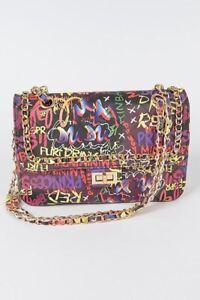 Graffiti Crossbody Bag for women faux leather, black, Multi colored