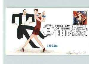 FLAPPERS DUE the CHARLESTON, Hand Painted Celebrate the Century 1920s FDC
