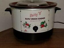 Vintage Betty G Slow Crock Cooker Pot 6 Quarts Abbott White  With lid