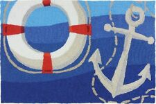 Jellybean Rug Accent Rug Throw Rug Doormat Nautical ANCHOR & LIFE PRESERVER