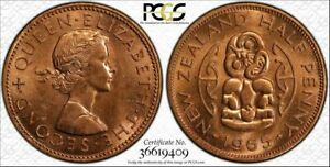 1965 NEW ZEALAND HALF PENNY PCGS MS63RD BU TONED COIN IN HIGH GRADE