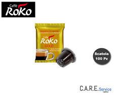 NESPRESSO 100 CAPSULE COMPATIBILI CAFFE' ROKO AROMA GOLD MORBIDO E INTENSO