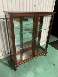 H25021 Vintage Display Cabinet China Cupboard with Glass Shelving