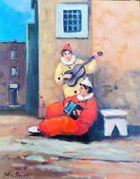 BONETTI ANTONIO Dipinto -Quadro - Napoli Antica mandolino serenata clown