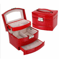 Jewelry Leather Mirror Box Storage Case Organizer Ring Earring Necklace Display