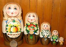 Russian nesting Dolls Matryoshka Apples Strawberry Flowers 5 Veselova