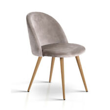 2x Artiss Dining Chairs Armchair Velvet Seat Cafe Furniture Modern Iron Grey