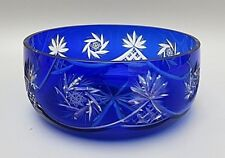 RARE ANTIQUE BOHEMIA CRYSTAL CUT TO CLEAR COBALT BLUE FRUIT BOWL
