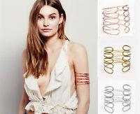 Women Punk Alloy Swirl Upper Arm Cuff Armlet Armband Bangle Bracelet Jewelry