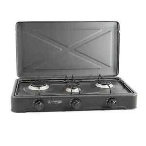 Gaskocher 3-flammig TRIO + Gasschlauch und Druckminderer
