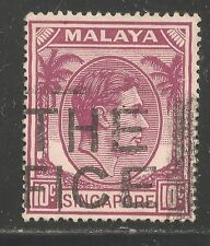 Singapore #9a (A1) VF USED - 1950 10c King George VI