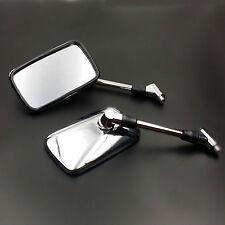 10mm Rectangle Big Rearview Side Mirror For Honda Kawasaki Suzuki Cruiser Custom