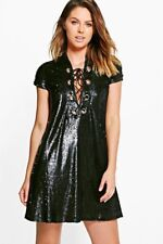 Ladies 8 Boohoo Boutique Aliza Oversized Festival Summer Dress Sequins Free Post