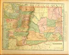 Beautiful Original 1899 Washington State Large Color Map/10x14