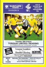 Football Programme>TORQUAY UNITED v READING Aug 1988 FLC