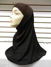 Brown/Black 2 Piece Two Tone Plain Hijab Muslim Head Wear Cover Scarf Cap Modest