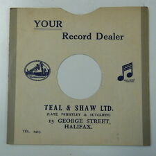 "record sleeve for 78rpm 10"" gramophone disc : TEAL & SHAW , HALIFAX"