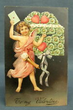 Antique Postcard Valentines Day To My Cherub Mailing Love Letter Floral Mail Box
