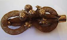 Victorian Mourning Hair Jewelry 4 BULBs bow shape Broach Pin antique