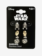 Star Wars Droids Earrings Set 3 Pack R2-D2, C-3PO and BB-8 Stainless Steel Posts