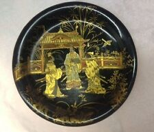 Antique, Tray/plate, Lacquer, Black & Gold,Hand painted, 1890-1930, Japan