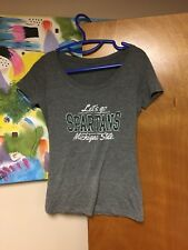 Michigan State Women's Scoop Neck T-shirt Let's Go Spartans Distressed Gray EUC
