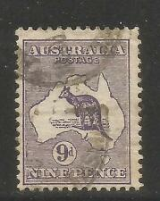 Australia 1913 Kangaroo/Map 9p purple--Attractive Topical (9) used