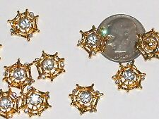2pc. Miniature dollhouse little Gold plated Crystal Spider Web Halloween 12mm **