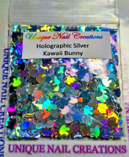 Solvent Resistant KAWAII BUNNY Holographic Silver~ Acrylic/Gel/ Nail Art~ USA