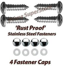 STAINLESS STEEL LICENSE PLATE FRAME/COVER RUST PROOF FASTENER/SCREW CHROME CAPS