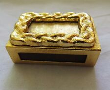 MINI GOLDEN  MATCH BOX HOLDER WITH NEW, UNUSED MATCH BOX & MATCHES (B11)