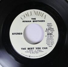 Pop Promo Nm! 45 Rowan Brothers - The Best You Can / The Best You Can On Columbi